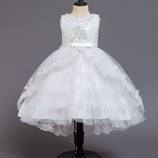 Flower girl wedding party ball beading tail wedding dress white dress girl Princess first birthday party tail dress vestidos de