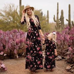 New Family Look Women Girl Dresses Long Sleeve Floral Dress Mother Daughter Clothes Mom And Me Dress Family Matching Clothes