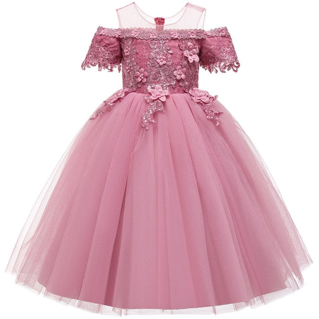 Girl Pageant Dresses First Communion Dress Kids Wedding Party Gown Birthday Party Dress Girl Lace petal Party Long Banquet Dress