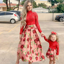 Long Sleeve Red Lace Wedding Dress For Family Look Matching Mommy And Me Clothes Patchwork Mother And Daughter Dresses Outfits
