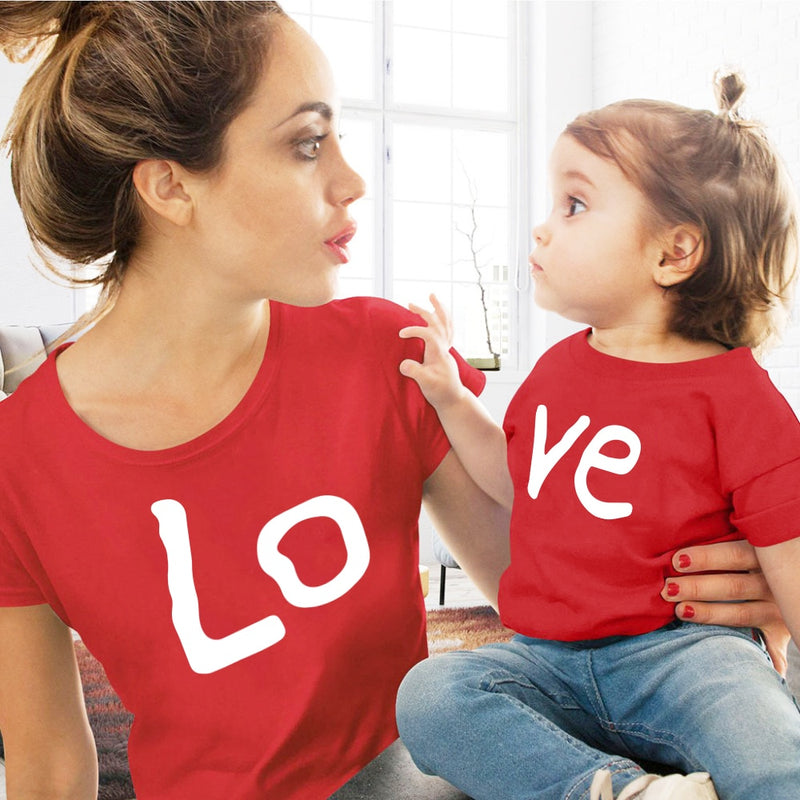 Love family matching clothes red Cotton Mother And Daughter Clothe print T-shirt Mommy And Me Clothe baby Kids girl boy clothing