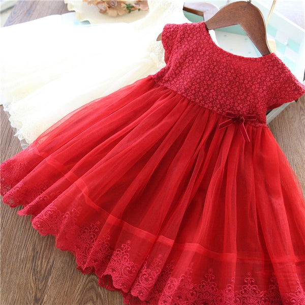 2020 Girls Summer Dress Kids Casual Wear White Wedding Party Dress Teenager Girl Cothing Lace Princess Dress Baby Girl Clothes