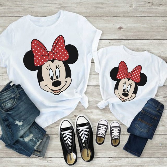 Harajuku Baby Girl Clothes Cute Cartoon Mommy And Me Clothes Vogue Kawaii Minnie Family Look Hipster Print T Shirts