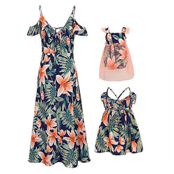 New Fashion Mommy and Me Family Matching Sleeveless Flower Print Dress Mother Daughter +Bow Headband Loose Boho Beach Dresses