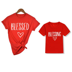 1pc Blessed  Blessing Mommy and Me Matching Shirts Family Look Matching Outfits Mommy and Daughter T-shirts Mother and Son Tops