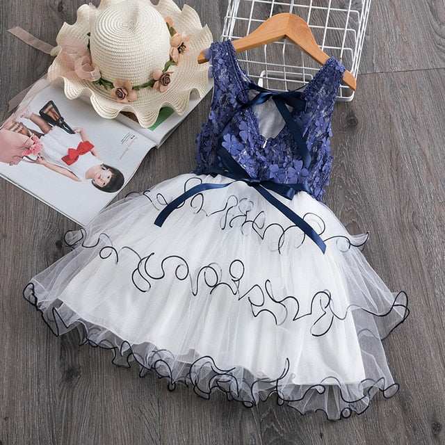 Girl Dress Kids Dresses For Girls Mesh Casual Lace Embroidery Princess Baby Girl Clothes Summer Sleeveless Dress Kids Clothes