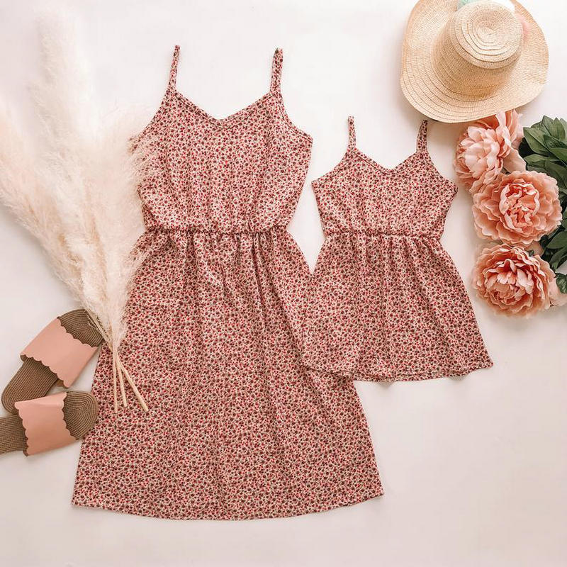 2020 Sleeveless Mother And Daughter Clothes Floral Family Matching Clothes Outfits Mommy And Me Twinning Mom Daughter Dresses