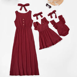 Mom And Daughter Dress Family Look Mother Daughter Dresses Sleeveless Women Girls Mommy And Me Clothes Family Matching Outfits