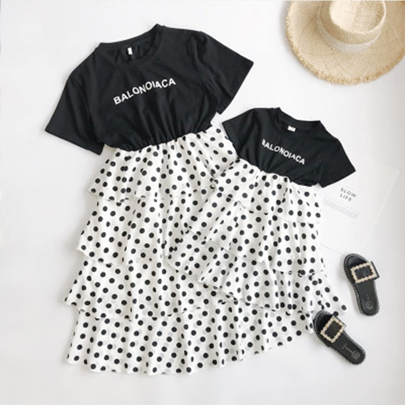 Polka Dot Mother Daughter Family Dresses Summer T-shrit Patchwork Layered Dress Mommy And Me Family Matching Clothes Family Look