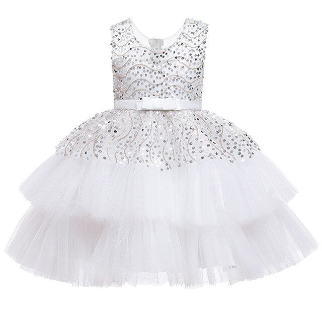Flower girl birthday party dance Sequin wedding dress puffy white party dress girl formal Eucharist party party Sequin dress