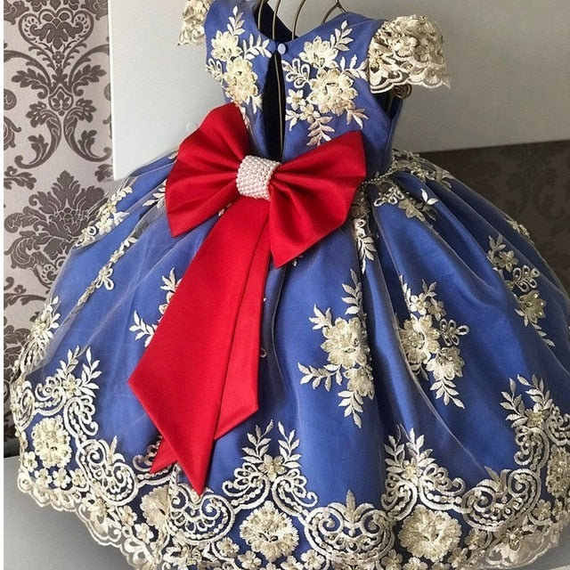 Elegant Girls Dress Flower Girl Wedding Evening Children Clothing Embroidery Princess Party Pageant Kids Dresses for Girls
