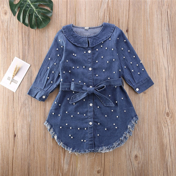 2020 Fashion Toddler Kid Baby Girl Dress Clothes Long Sleeve Denim Pearl Belt Single Breasted Dresses Spring Autumn