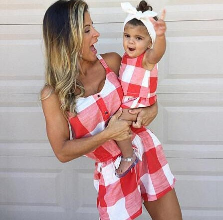 Family Matching Outfits Mom-Kids Plaid Rompers sling sleeveless Jumpsuits