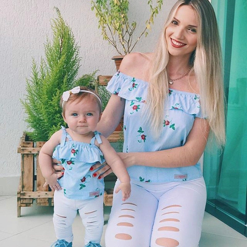 Mother and Daughter Family Match Clothes Off shoulder Striped Floral Tops+Hole Pant Legging 2PCS Clothing Set