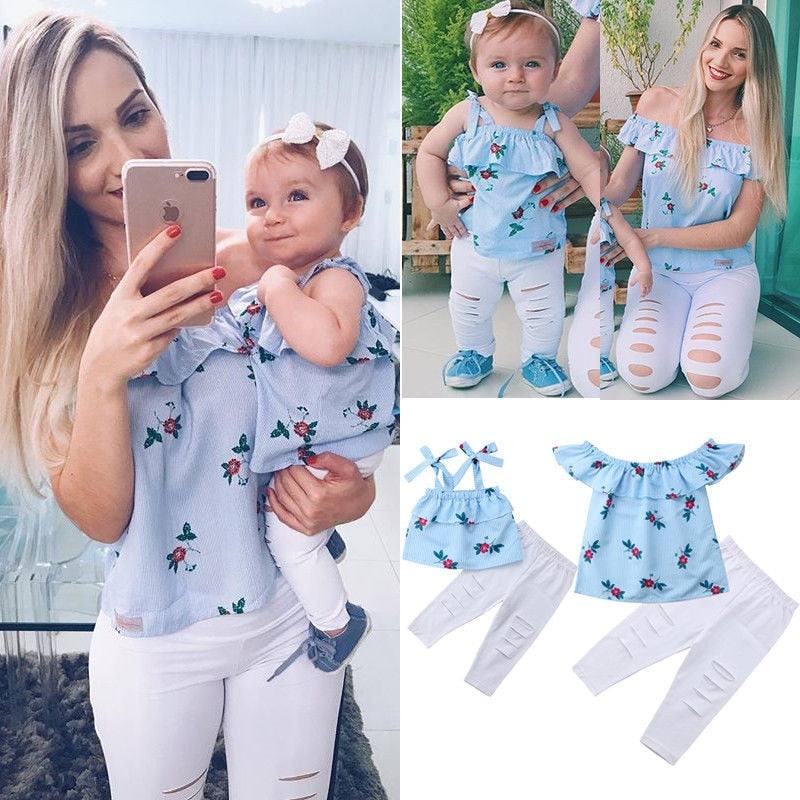 Summer Family Matching Mother Daughter Floral Print Striped Sleeveless Tops Hole Pants Clothes Mom Girl Kid Family Look Clothing