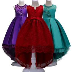 Flower Girl Dress Red Trailer Puffy Wedding party Dress Girl First Communion Eucharist Attended Princess Lace Evening Dress