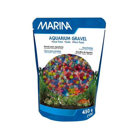 Marina Decorative Aquarium Gravel, Rainbow, 450 g  (1 lb)