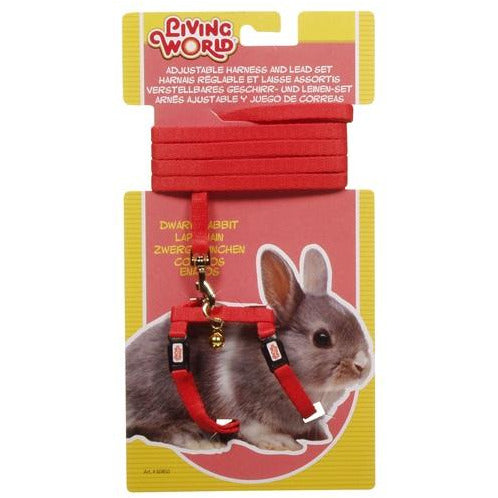 Living World Figure 8 Harness and Lead Set For Dwarf Rabbits - Red