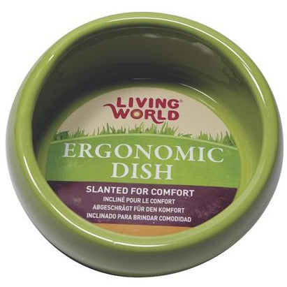 Living World Ergonomic Dish Small, 120 mL (4.22 oz) Green/Ceramic