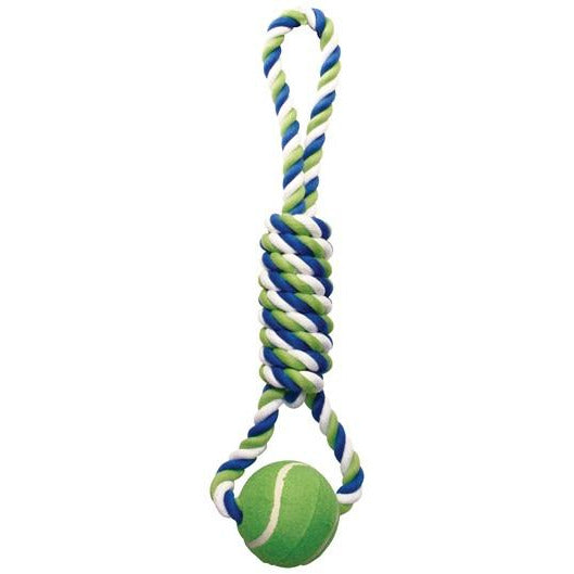Dogit Dog Knotted Rope Toy - Multicoloured Spiral Tug with Tennis Ball