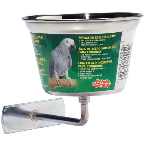 Living World Stainless Steel Parrot Cup Medium - 480 ml (16 oz)
