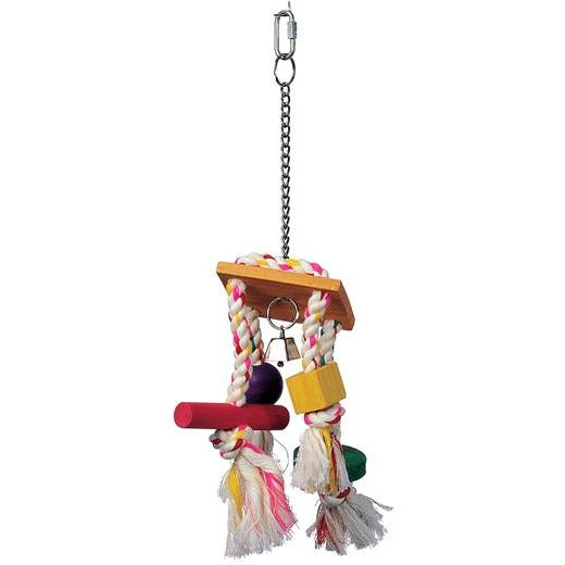 Living World Junglewood Bird Toy, Rope Chime with Bell, Cylinder, Block and Bead with Hanging Clip