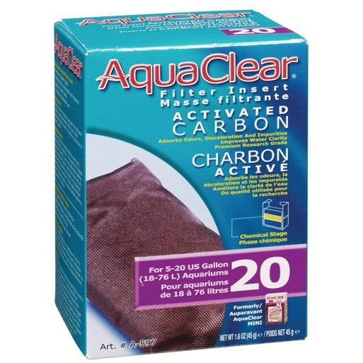 AquaClear 20 Activated Carbon Filter Insert, 45 g (1.6 oz)