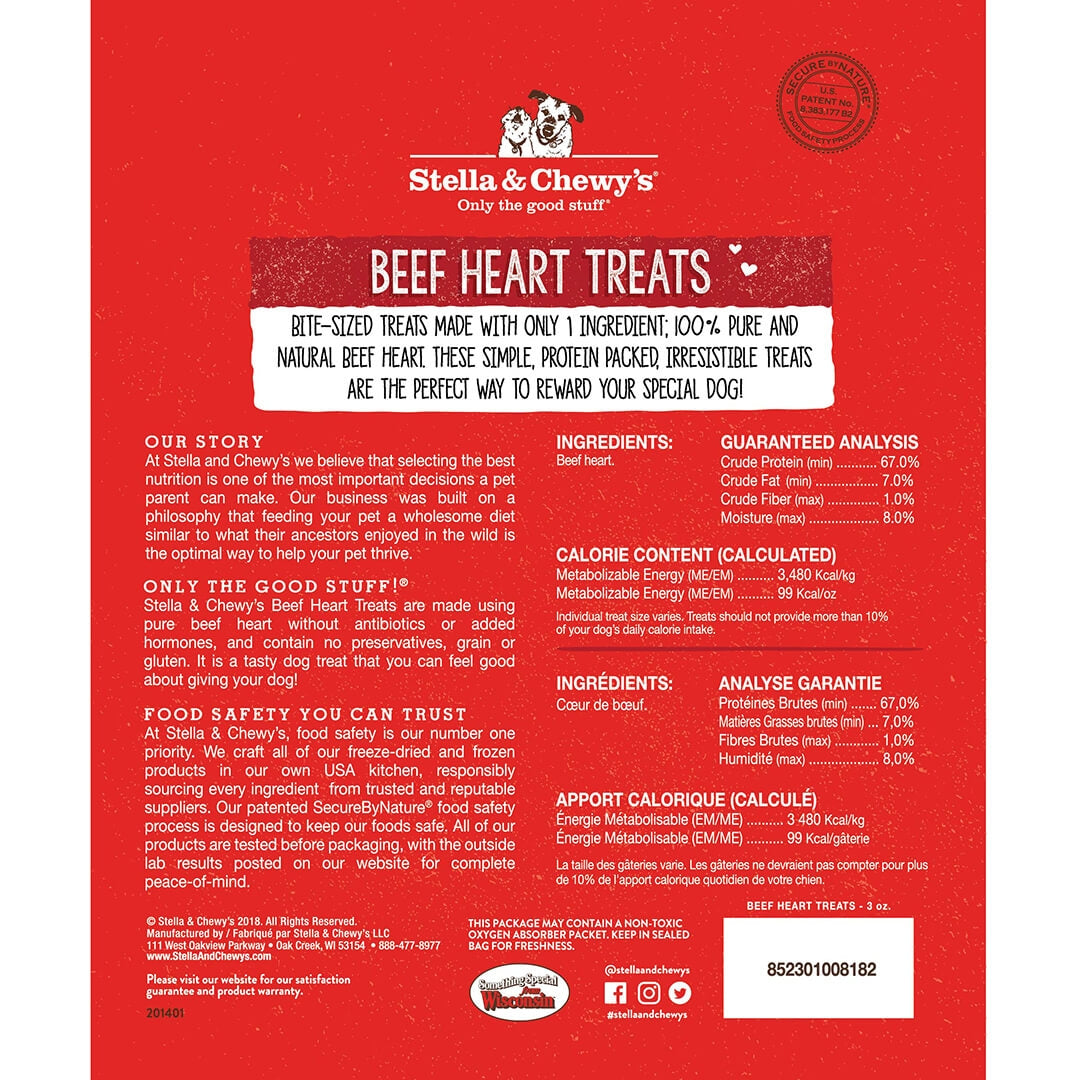 Stella & Chewy's Beef Heart Dog Treats (3oz)