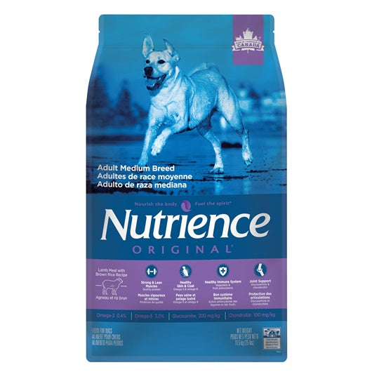 Nutrience Original Adult Medium Breed - Lamb Meal with Brown Rice Recipe - 11.5 kg (25 lbs)