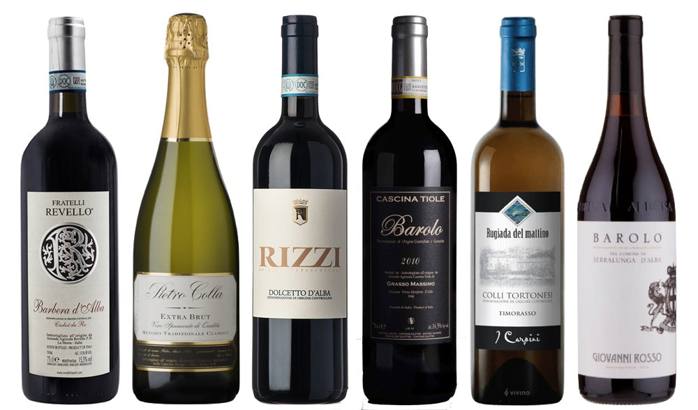SAMPLE MIXED PIEMONTE WINES - 6 bottles Shipping Included