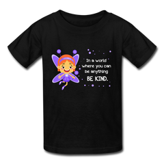 Kids T-Shirt: In a world where you can be anything be kind with a purple garden fairy - black