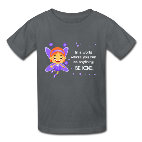 Kids T-Shirt: In a world where you can be anything be kind with a purple garden fairy - charcoal