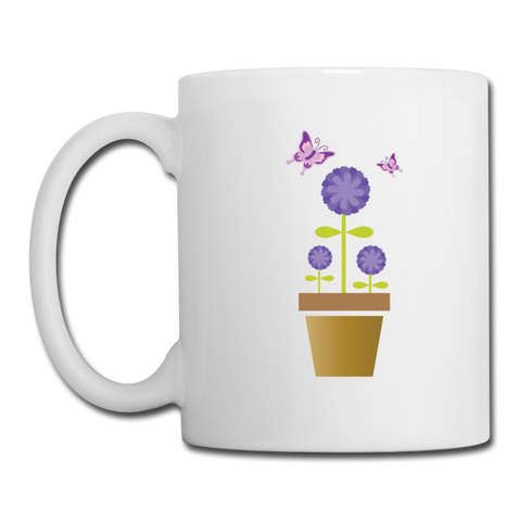 Coffee/Tea Mug: In a world where you can be anything be kind with a purple garden fairy - white