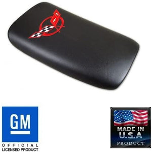 C5 Corvette Center Console Pad Lid Black Leather w/ Red Cross Flag Emblem 97-04