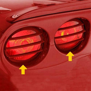 C6 Corvette Tail Light Louver Kit Phantom Euro Design Painted with GM Correct Match Victory Red Paint Fits: All 05 Through 13 Corvettes