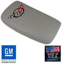 Load image into Gallery viewer, C5 Corvette Center Console Pad Lid Gray Leather with Black Cross Flag Embroidered Emblem Fits: All 97 Through 04 Corvettes