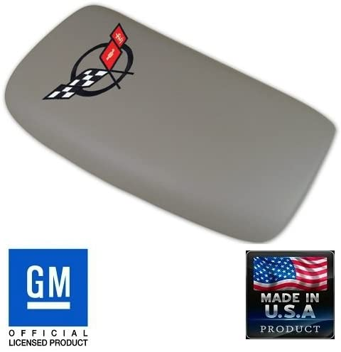 C5 Corvette Center Console Pad Lid Gray Leather with Black Cross Flag Embroidered Emblem Fits: All 97 Through 04 Corvettes