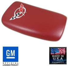 Load image into Gallery viewer, C5 Corvette Center Console Pad Lid Red Leather with Silver Cross Flag 97-04