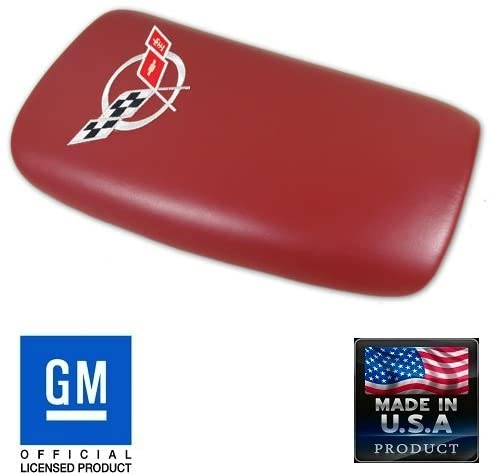 C5 Corvette Center Console Pad Lid Red Leather with Silver Cross Flag 97-04