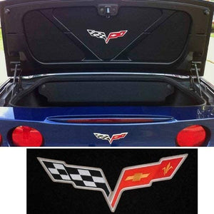 C6 Corvette Trunk Lid Liner with Cross Flag Embroidered Emblem 3 Piece Kit Fits: 05 Through 13 Convertible Corvettes
