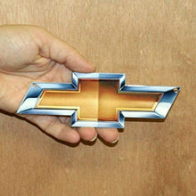 "Load image into Gallery viewer, Chevy Bow Tie GM Gold BowTie Metal Magnet Emblem Art Size: 6"" x 2"" Tool Box Great Gift Item"