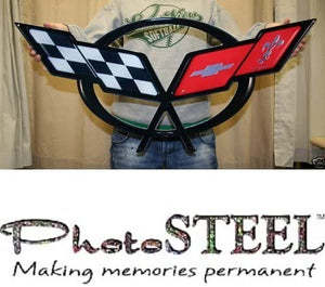 "C5 Corvette Crossed flag Wall Emblem Large Metal Art 97-04 Full 32"" by 15"""