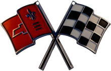 "Load image into Gallery viewer, C2 Corvette Nose Crossed Flag Metal Magnet Emblem Art Size: 6"" x 4"" Tool Box Cross Flag 65 through 66"