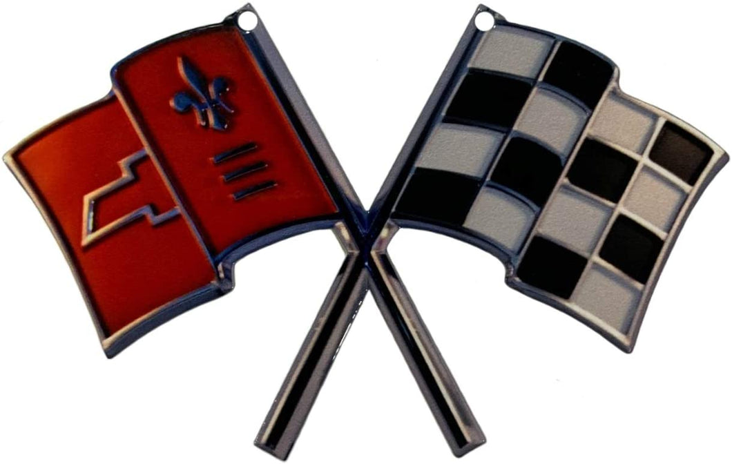 C2 Corvette Nose Crossed Flag Metal Magnet Emblem Art Size: 6