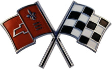 "Load image into Gallery viewer, C2 Corvette Crossed Flag Nose Wall Emblem Large Metal Art 65-66 Full 28"" x 17"""