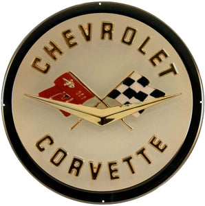 "C1 Corvette Wall Emblem Large Metal Art 58 thru 62 Full 19"" x 19"" In Size"