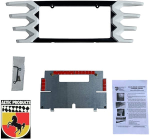 C7 Corvette Rear License Plate Frame Carbon Flash Finish with Arctic White Tips