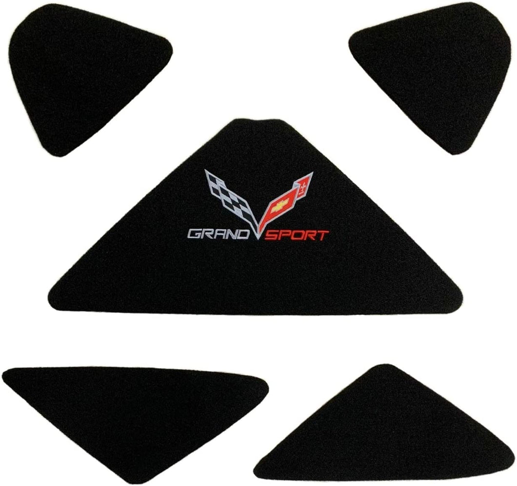 C7 Corvette Trunk Lid Liner with Cross Flag Grand Sport Embroidered Emblem 5 Piece Kit Fits: 17 Through 19 Convertible Corvettes