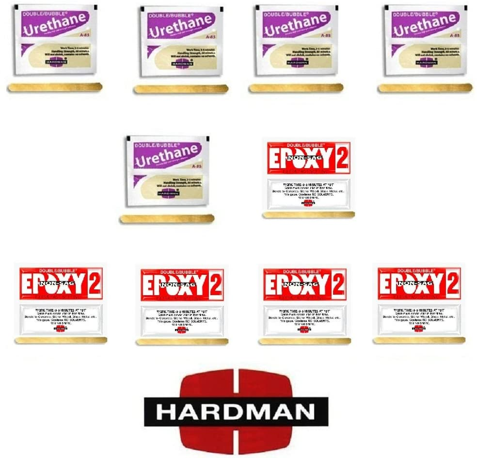 Hardman 10 Epoxy Double Bubble Packs Purple Beige 3.5g + Red 2 Non Sag 3.5g 5 Each