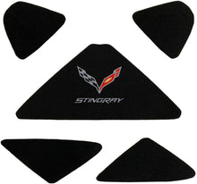 Load image into Gallery viewer, C7 Corvette Trunk Lid Liner with Cross Flag Emblem and Stingray Script Embroidered Emblems 5 Piece Kit Fits: 14 Through 19 Convertible Corvettes